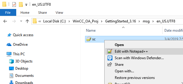 WinCC OA text editor